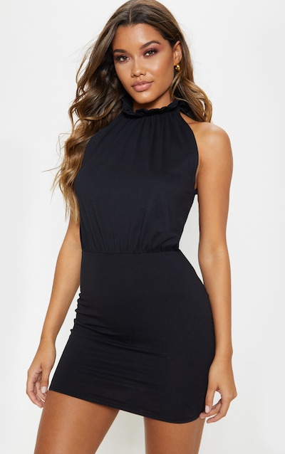 653ba404c5f Black Sleeveless High Neck Bodycon Dress