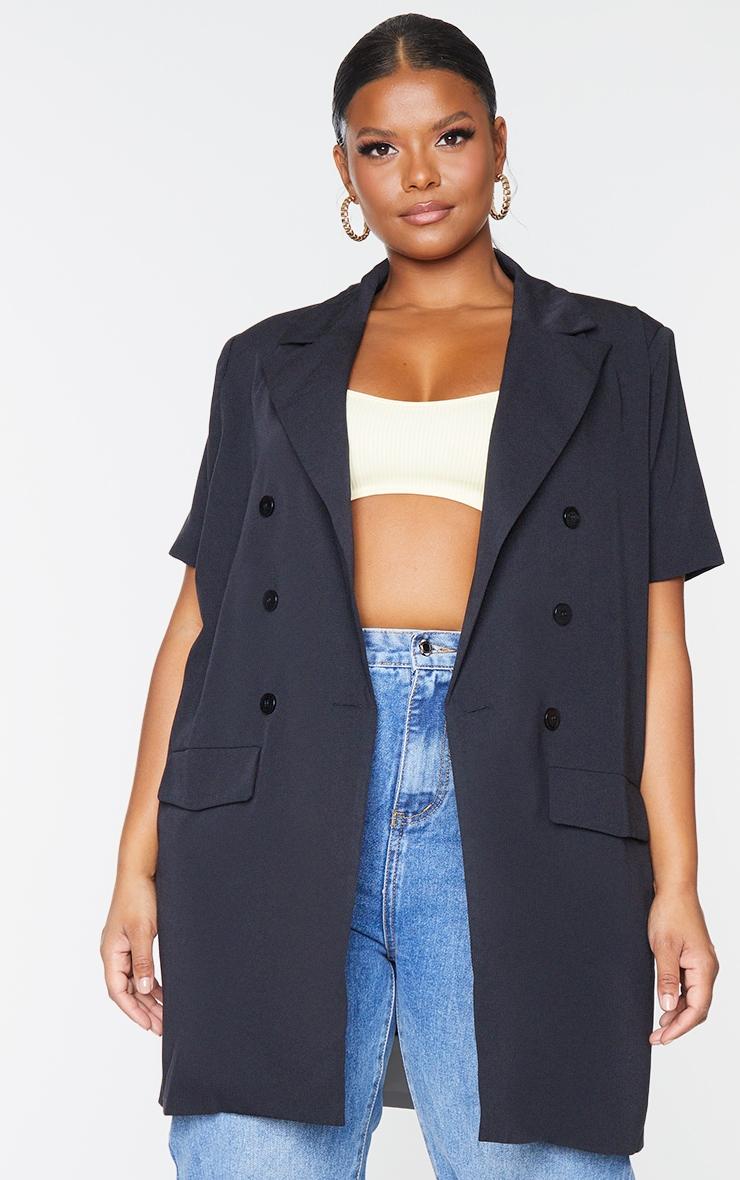Plus Black Woven Short Sleeve Longline Belted Blazer 3