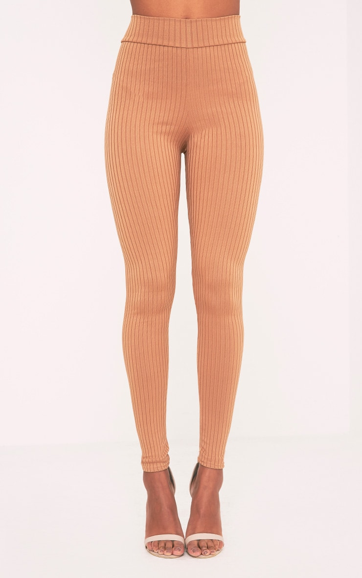 Harlie Camel Ribbed High Waisted Leggings 2
