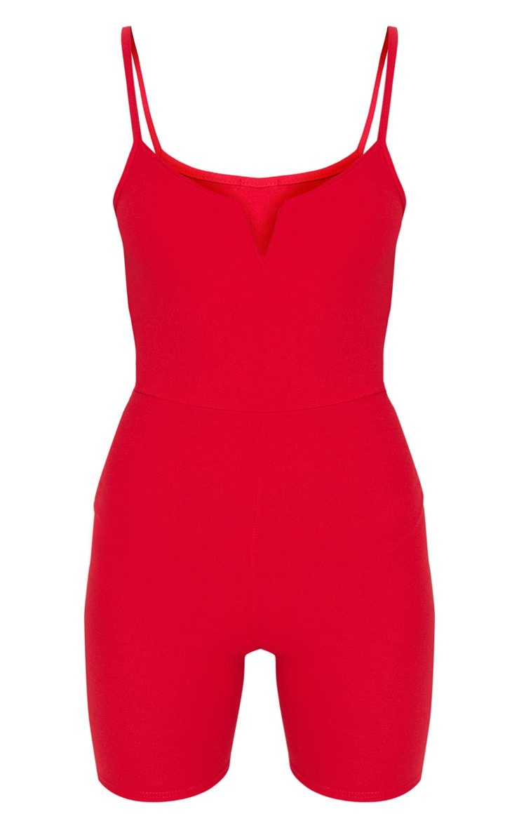 Red V Plunge Strappy Unitard 3