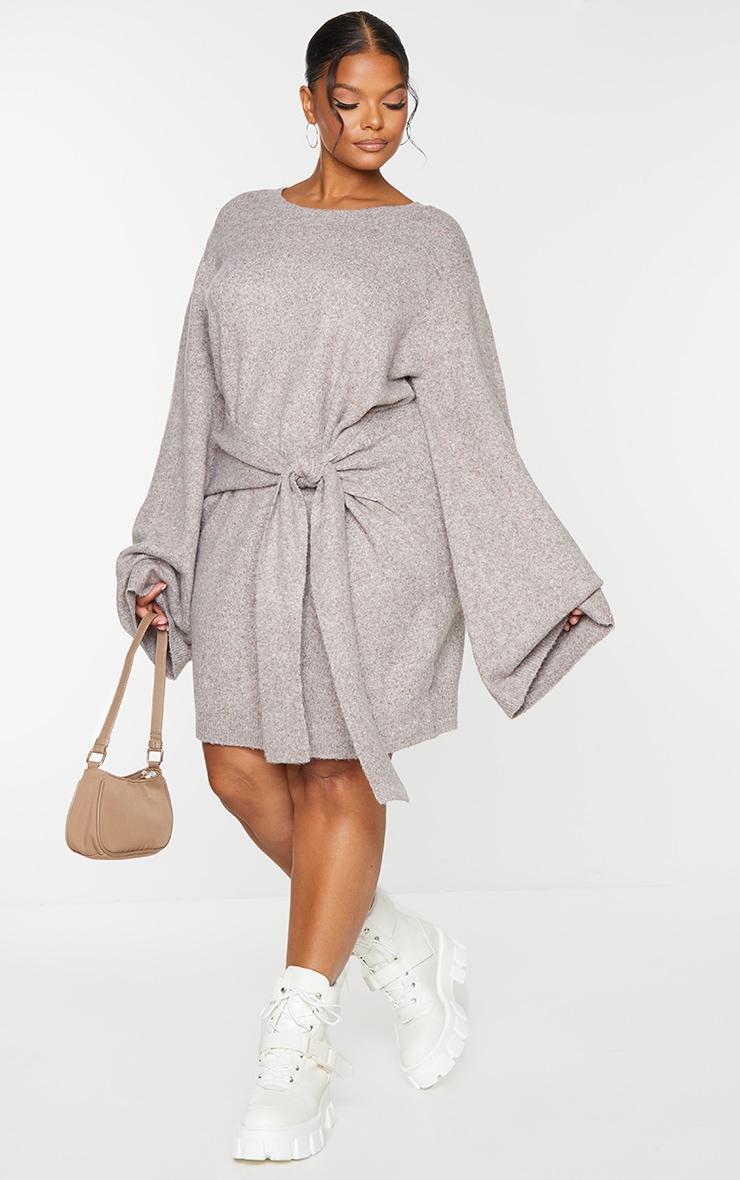 Recycled Plus Mocha Tie Front Sweat Jumper Dress 1