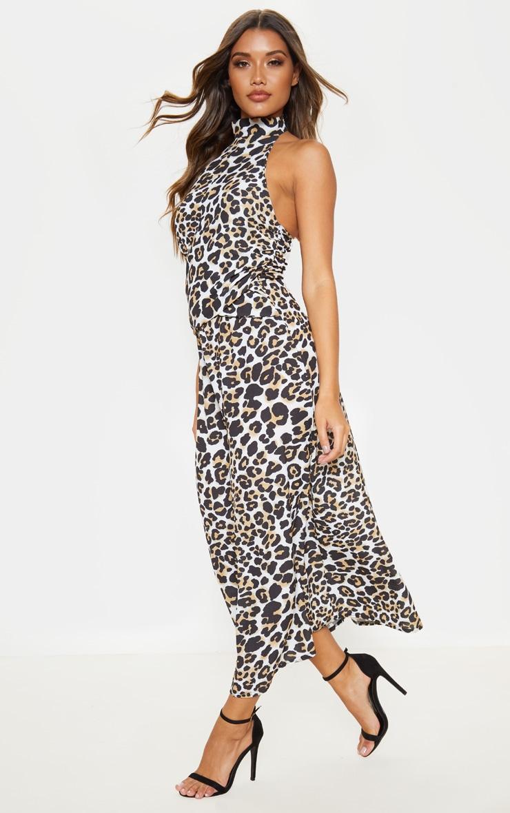 Tan Leopard Print Halterneck Wrap Front Maxi Dress 4