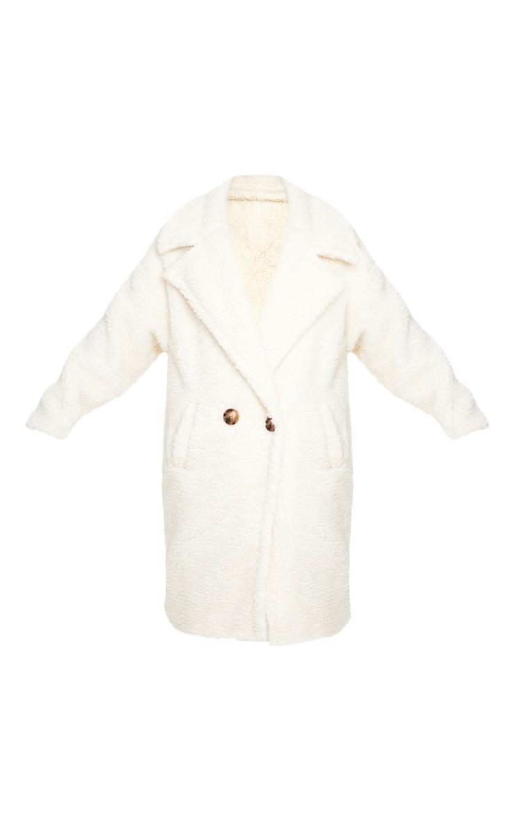 Petite Cream Borg Oversized Coat 3