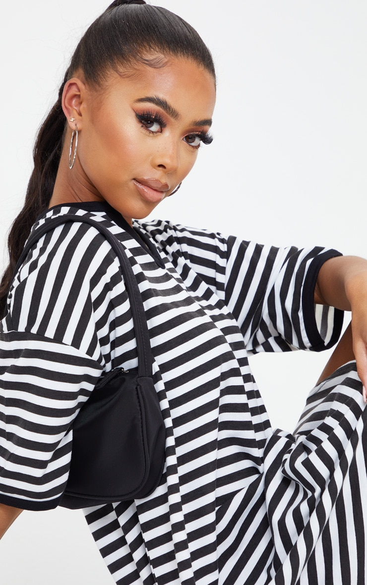 Black Split Neck Stripe Boyfriend T Shirt Dress 4
