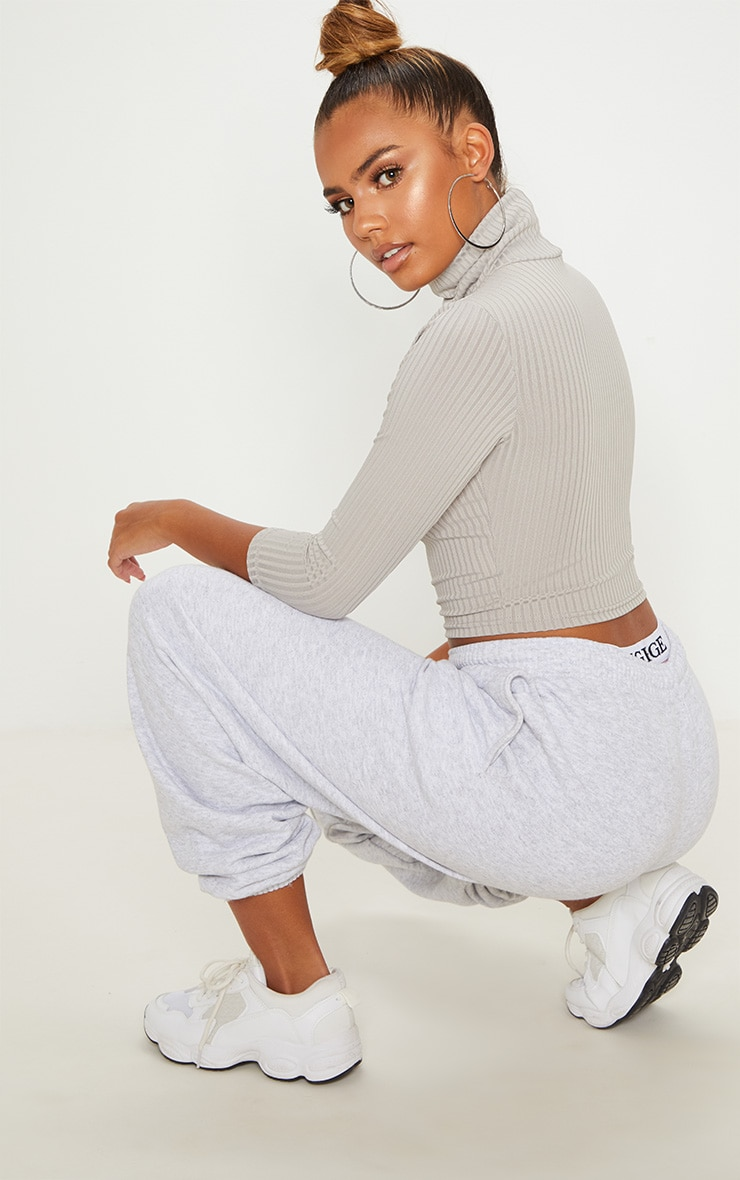 Grey Marl Long Sleeve Rib Roll Neck Crop Top 2
