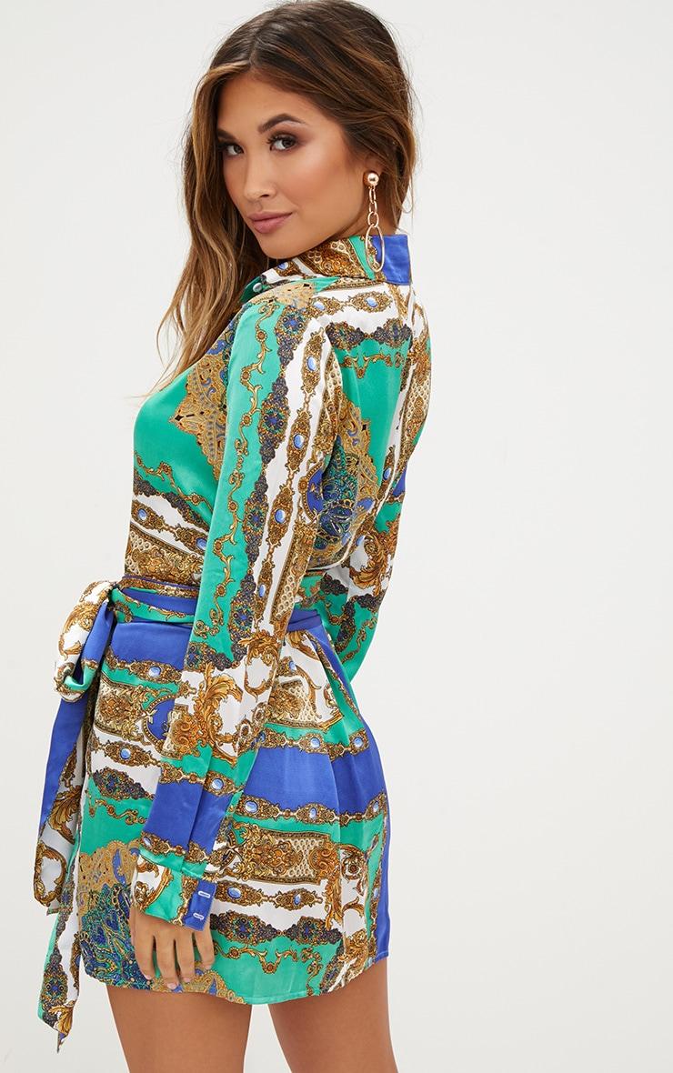 Green Satin Scarf Print Tie Waist Shirt Dress 2