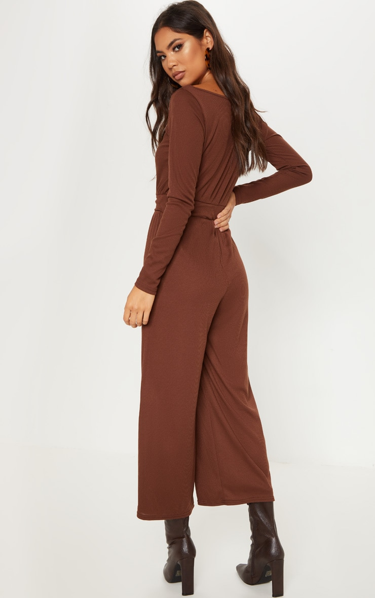 Chocolate Rib Off Shoulder Culotte Jumpsuit 2