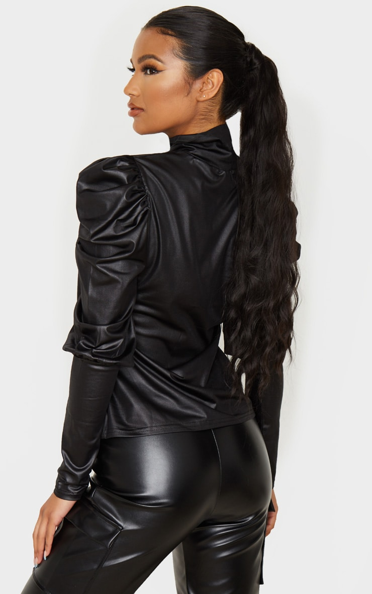 Black Wet Look Puff Shoulder Long Top 3