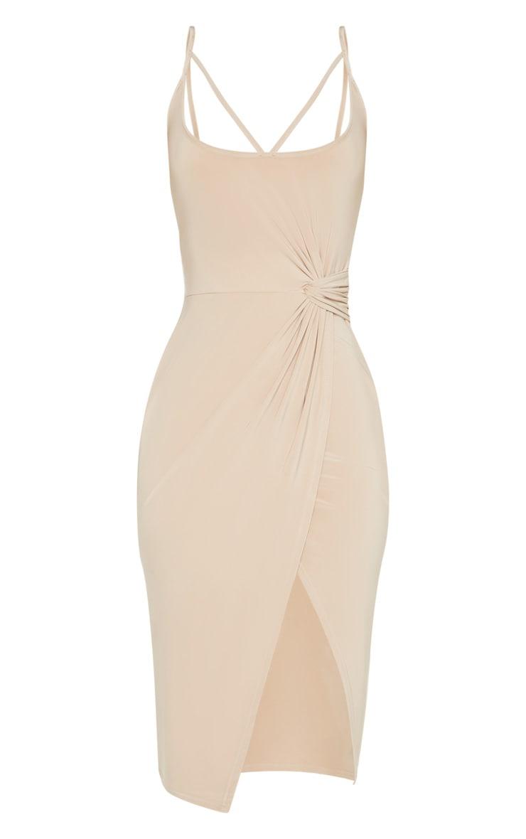 Stone Slinky Strap Detail Draped Midi Dress 3