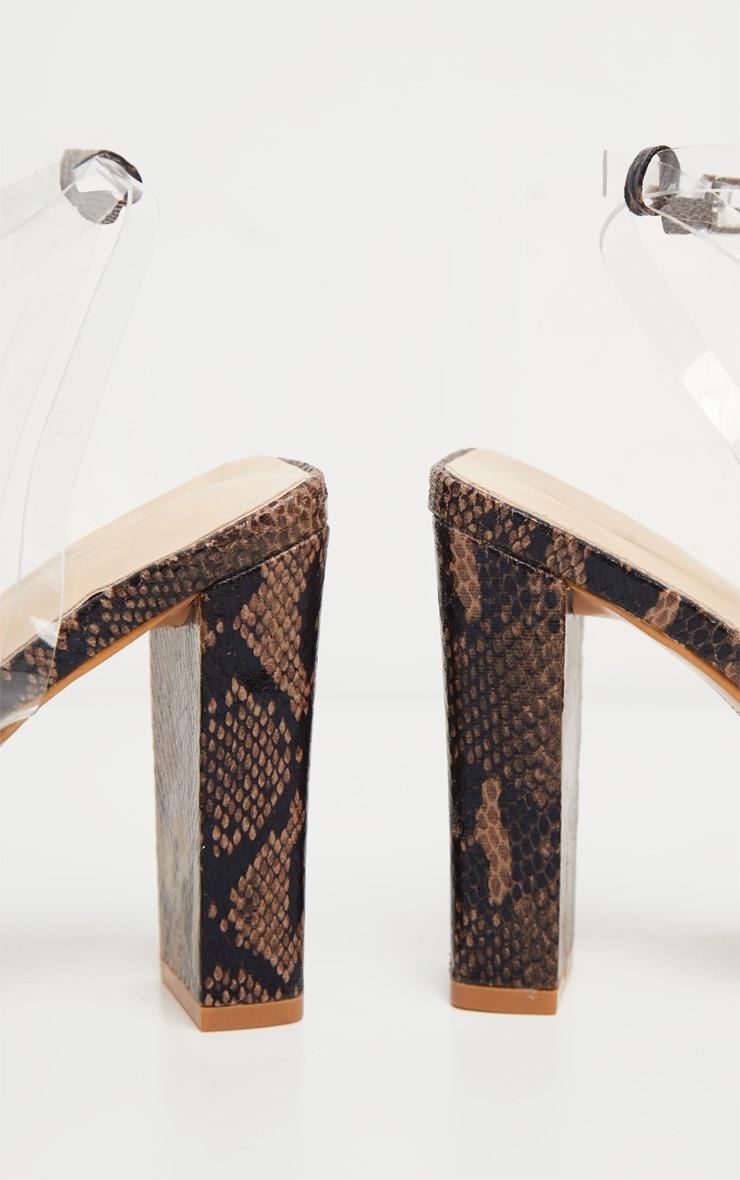 Snake Flat Block Heel Square Toe Clear Strap Sandal 4