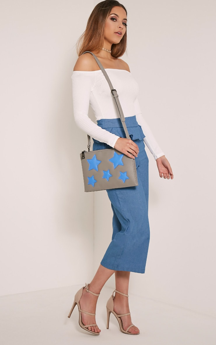 Aimee Grey PU Star Detail Clutch Bag 6
