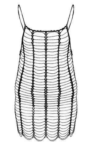 Black Crochet Beaded Dress image 6