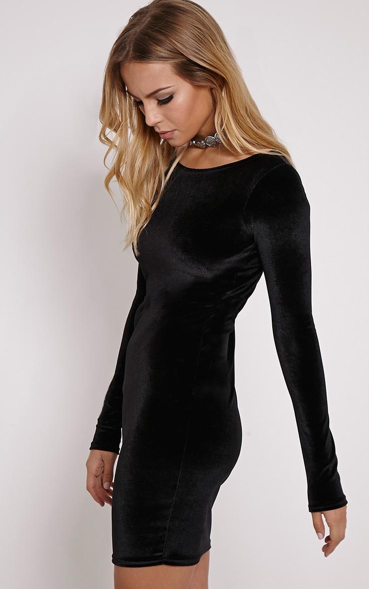 Bonny Black Round Neck Velvet Mini Dress 4