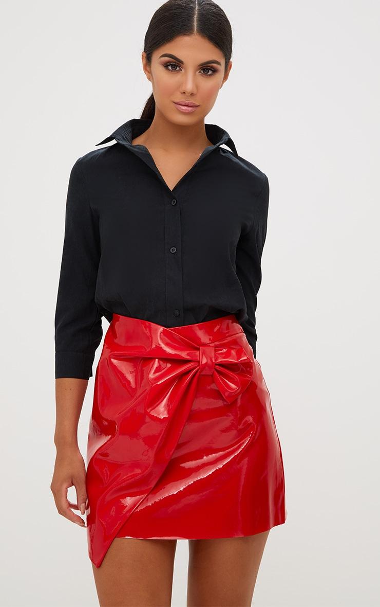 Red Vinyl Bow Wrap Mini Skirt 2