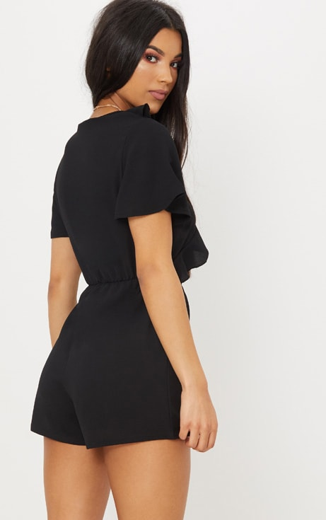Black Short Sleeve Frill Tie Front Playsuit 2