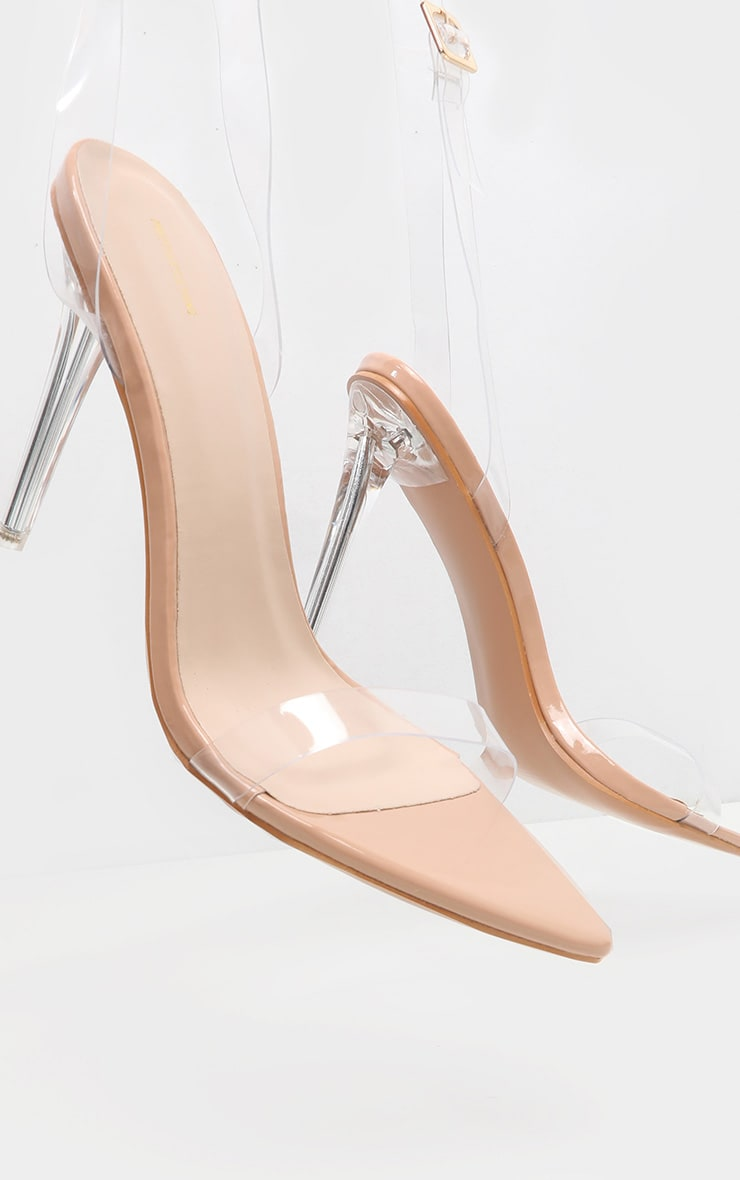 Nude Point Toe Clear Strappy Heeled Sandal 3