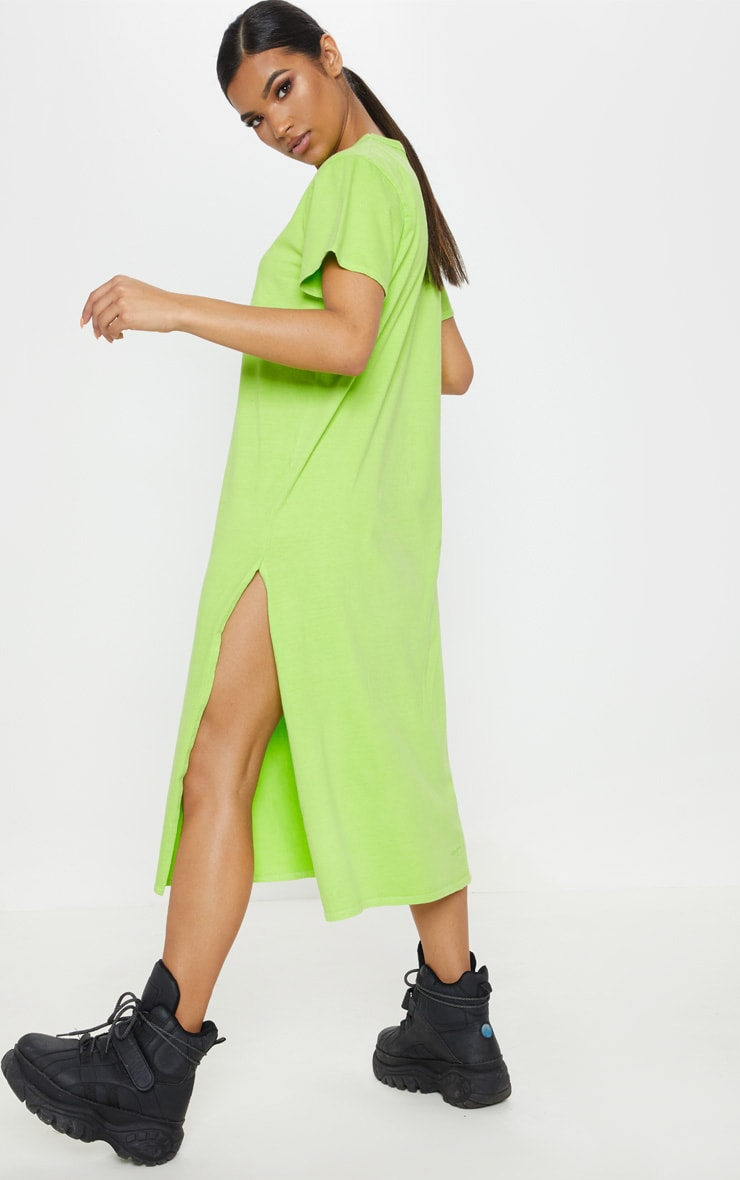 Washed Lime Too Late Slogan Oversized Midi Dress 2