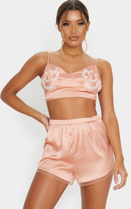 Peach Embroidered Bralet And Short Set 4