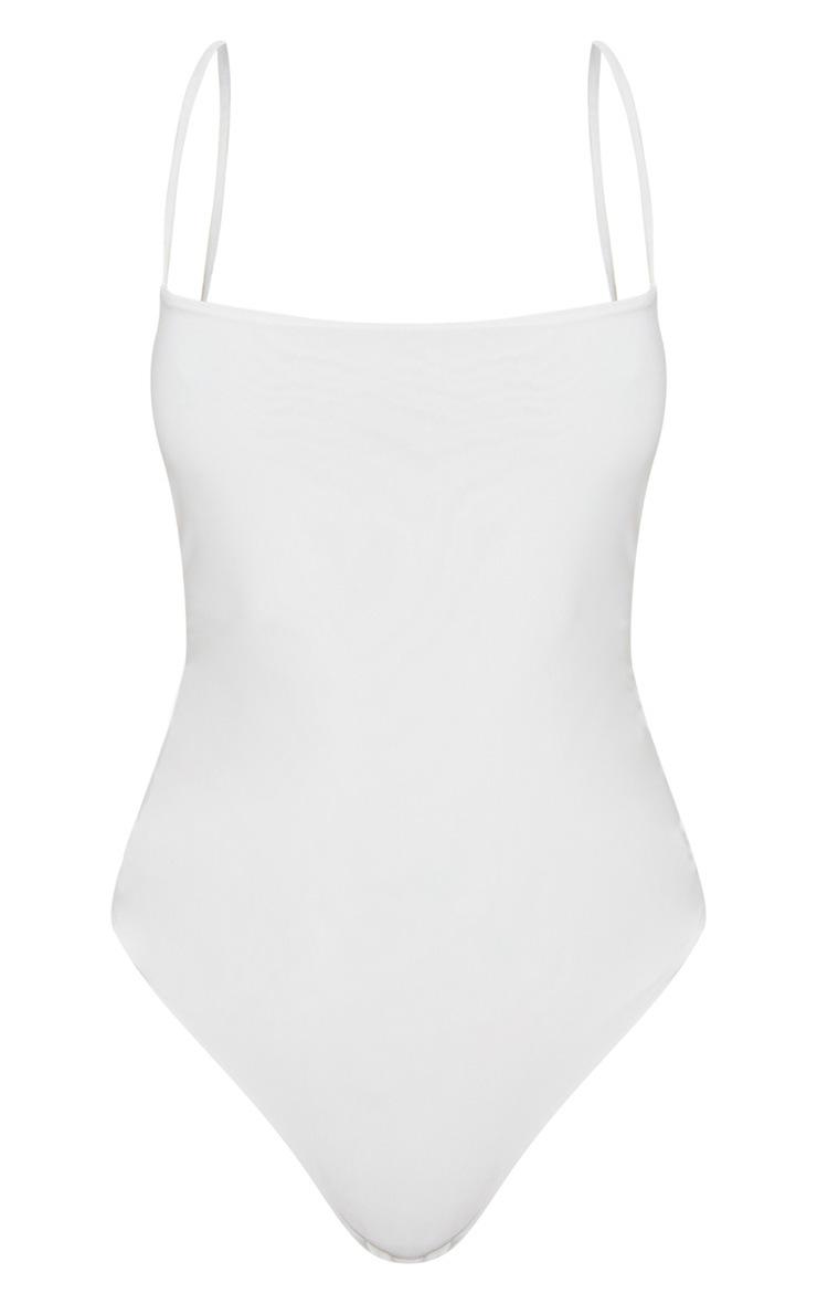 White Slinky Square Neck Spaghetti Strap Bodysuit 3