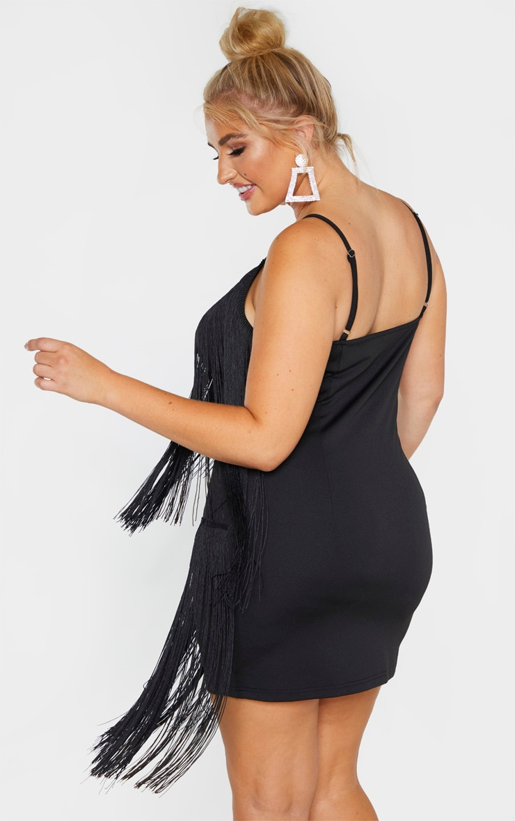 Plus Black Tassel Bodycon Dress  2
