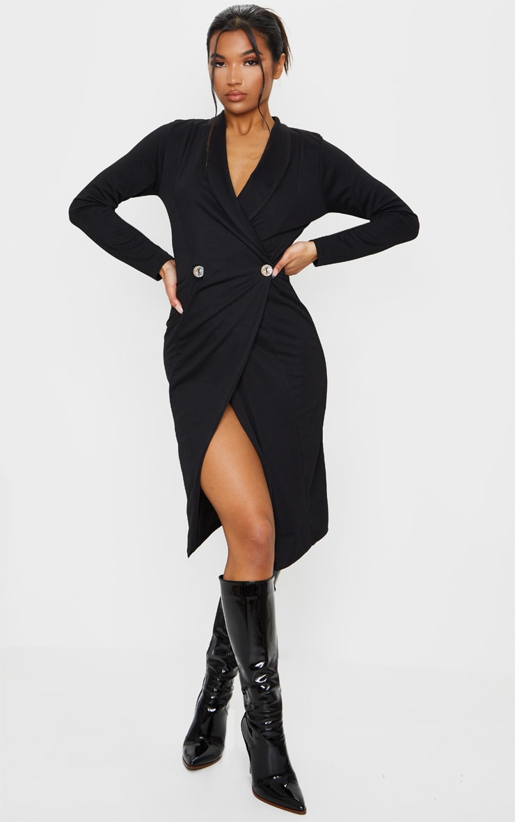 Black Button Detail Blazer Midi Dress 1