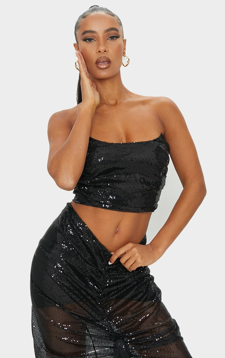 Black Sequin Woven Structured Curved Crop Top 1