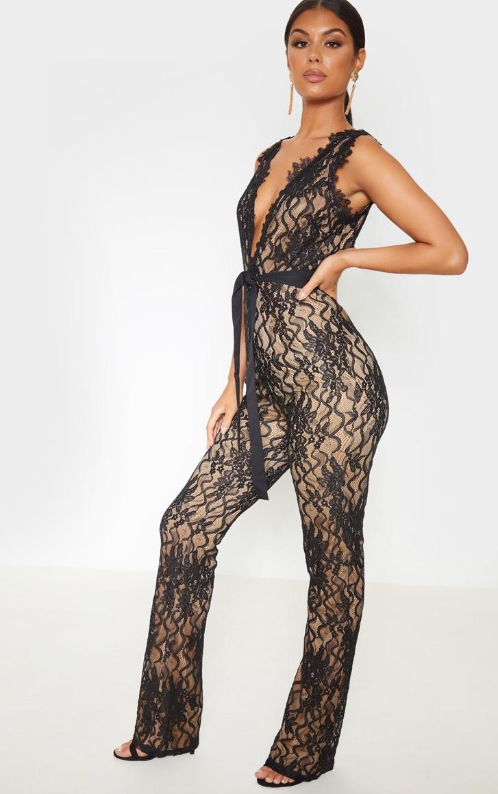 Black Lace Contrast Plunge Jumpsuit 4