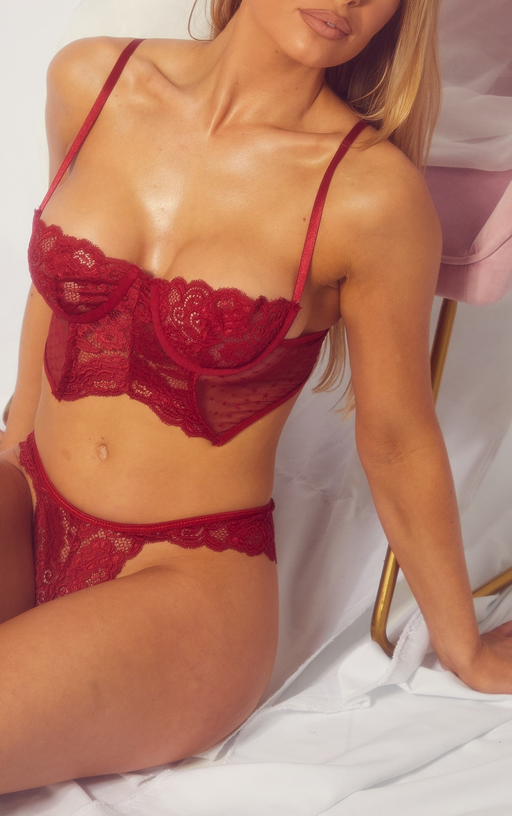 Dark Red Underwired Longline Lace And Mesh Lingerie Set 4