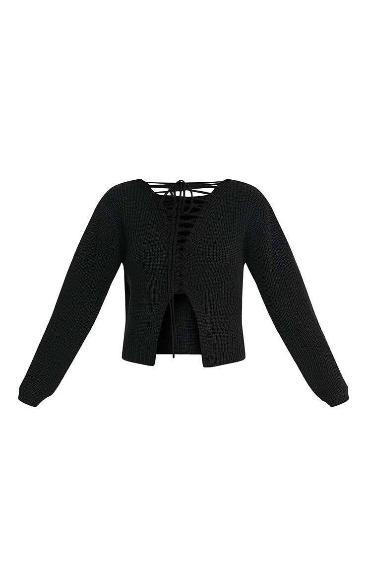 Cora Black Cropped Knit Tie Jumper 3