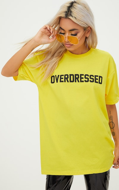 0f152cd9df Overdressed Slogan Yellow Oversized T Shirt