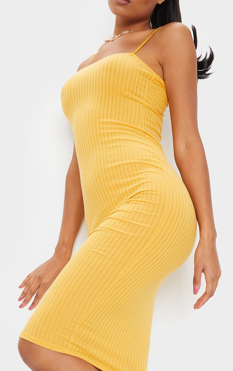 Mustard Ribbed Strappy Midi Dress 4