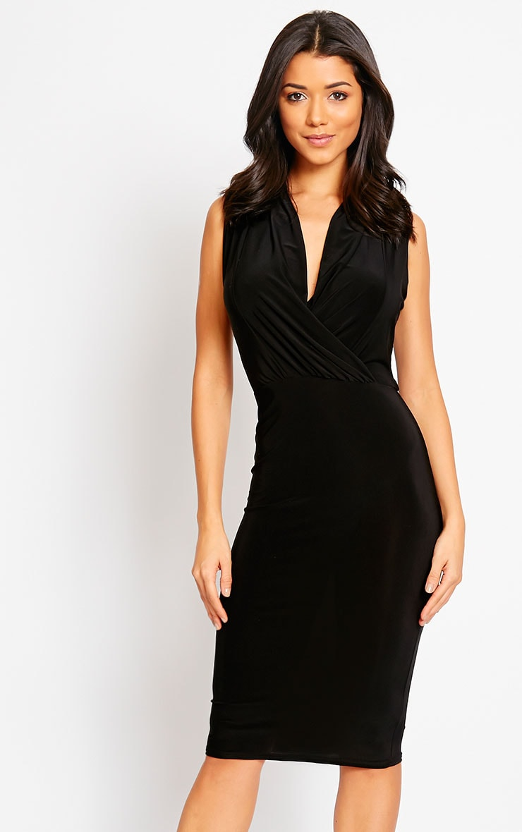 Stella Black Drape Midi Dress 1