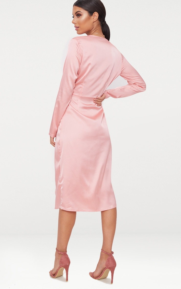 Blush Satin Long Sleeve Wrap Midi Dress 2