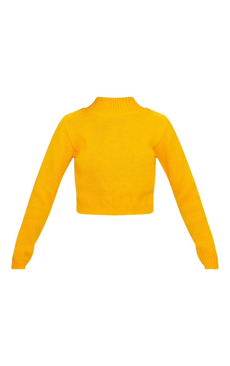 Bright Yellow High Neck Soft Cropped Jumper 3