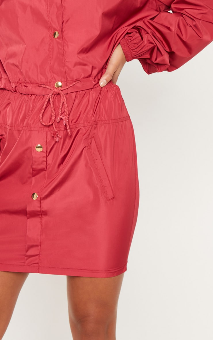 Petite Burgundy Shell Suit Mini Skirt 6