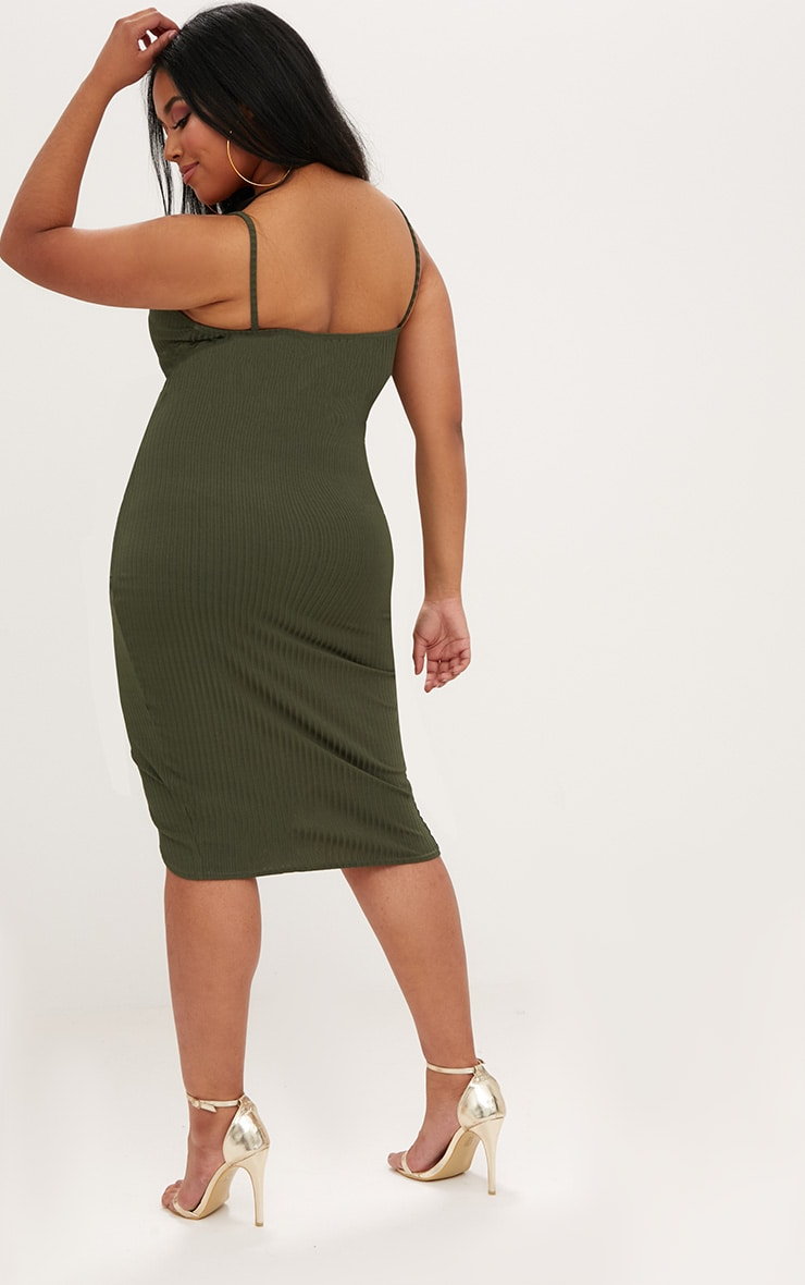 Plus Khaki Ribbed Cami Midi Dress 2