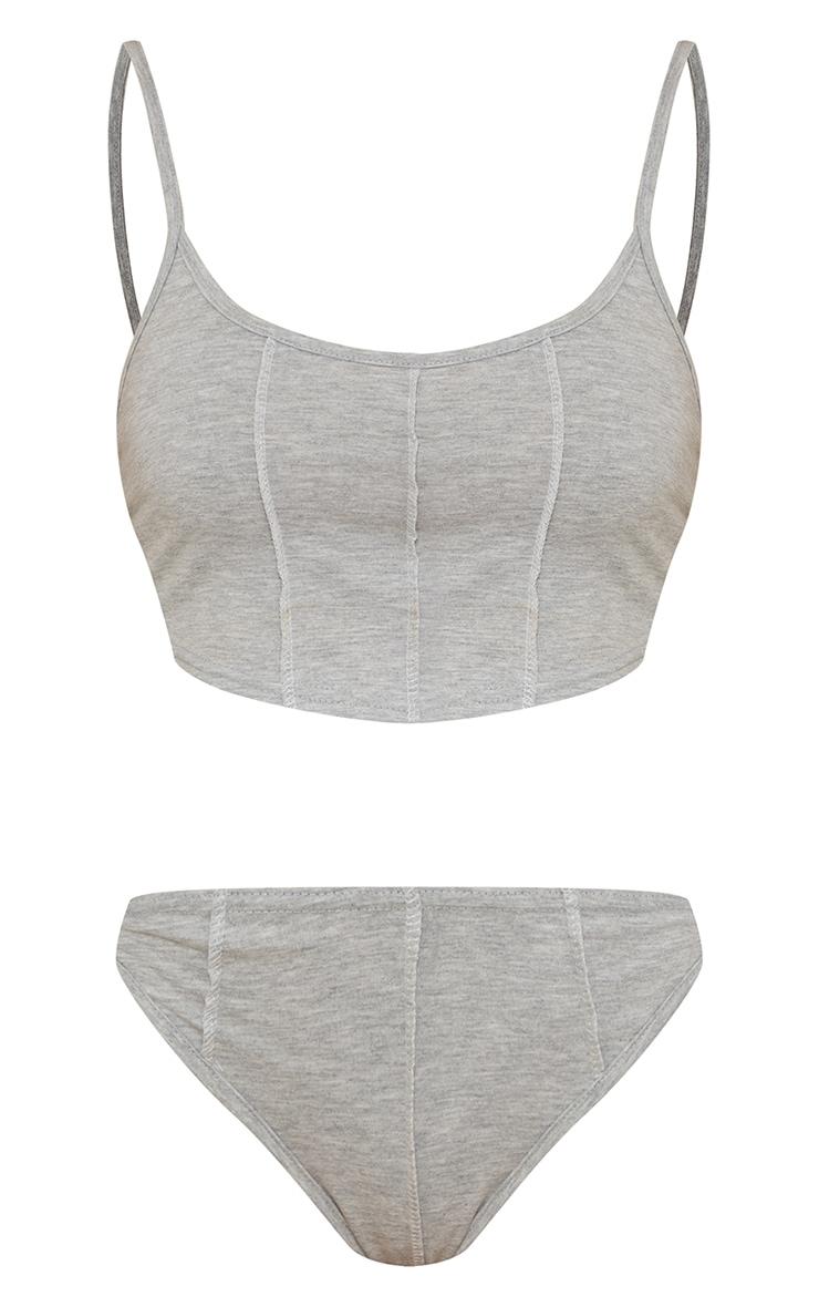 Grey Cotton Contrast Stitch Longline Lingerie Set 5