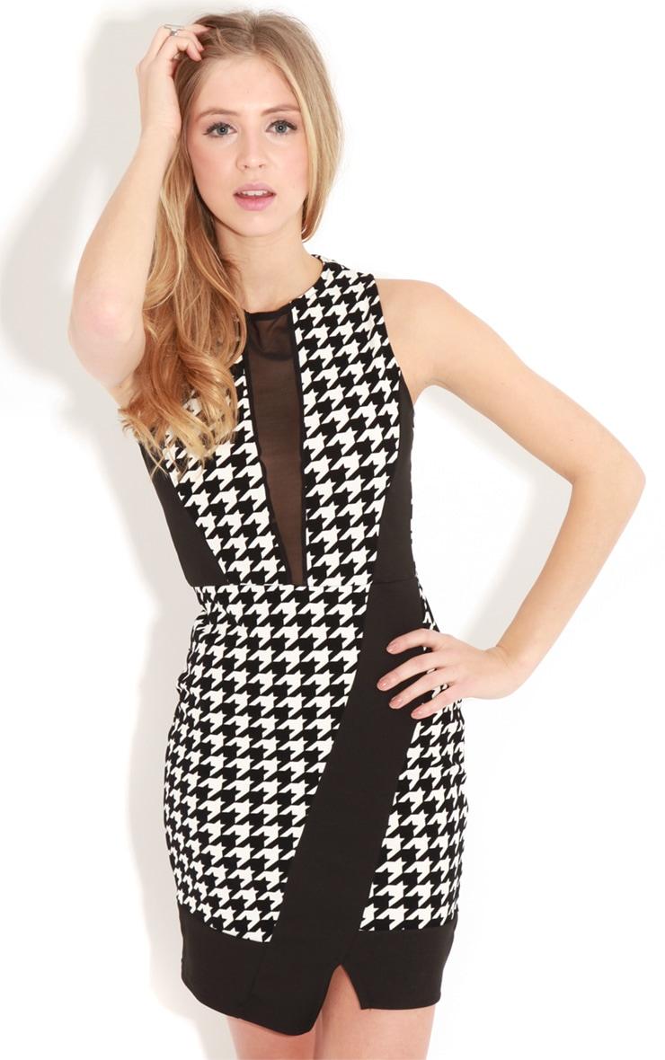 Alaina Monochrome Dogtooth Mesh Panel Dress 4