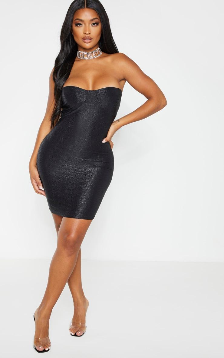 Shape Black Glitter Cup Detail Bandeau Bodycon Dress 4
