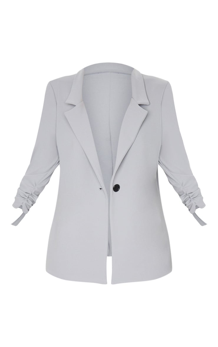 Grey Ruched Sleeve Blazer 5
