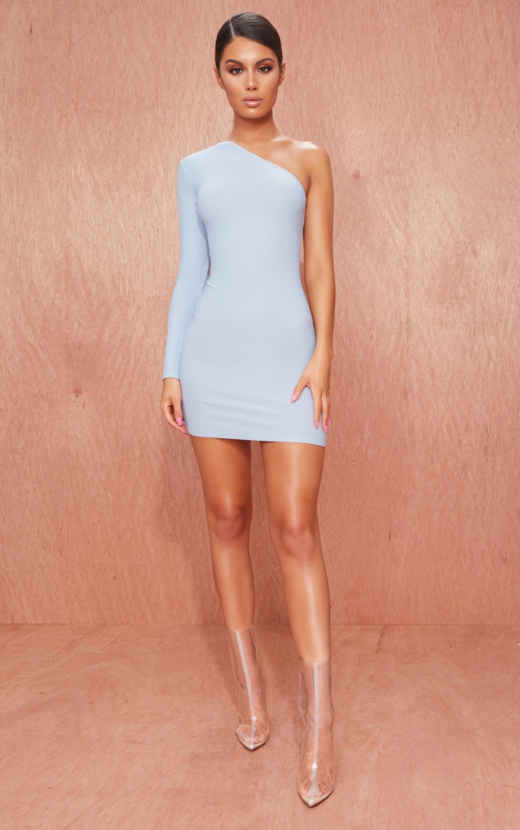 Dusty Blue Crepe One Sleeve Bodycon Dress 3