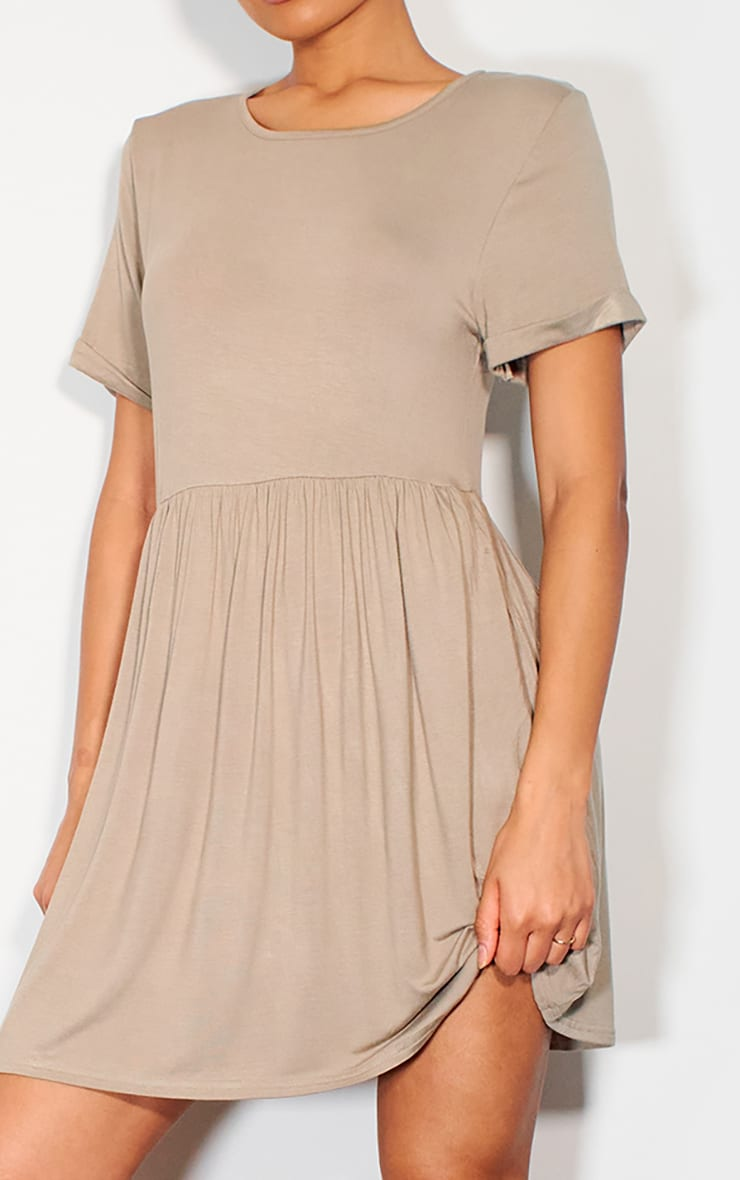 Taupe Jersey Smock Dress 4