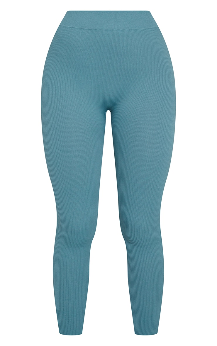 Teal Structured Contour Ribbed Leggings 5