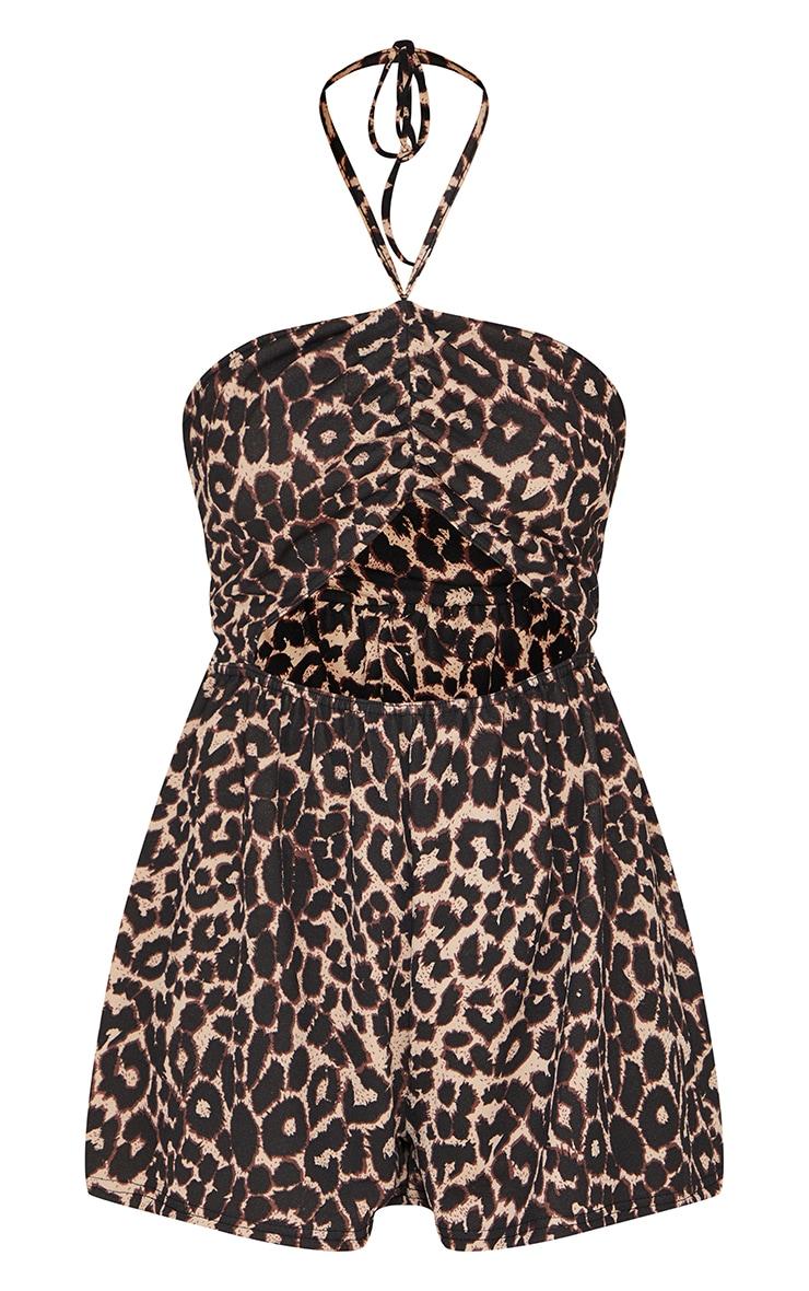 Combishort bandeau découpé marron clair imprimé léopard 5