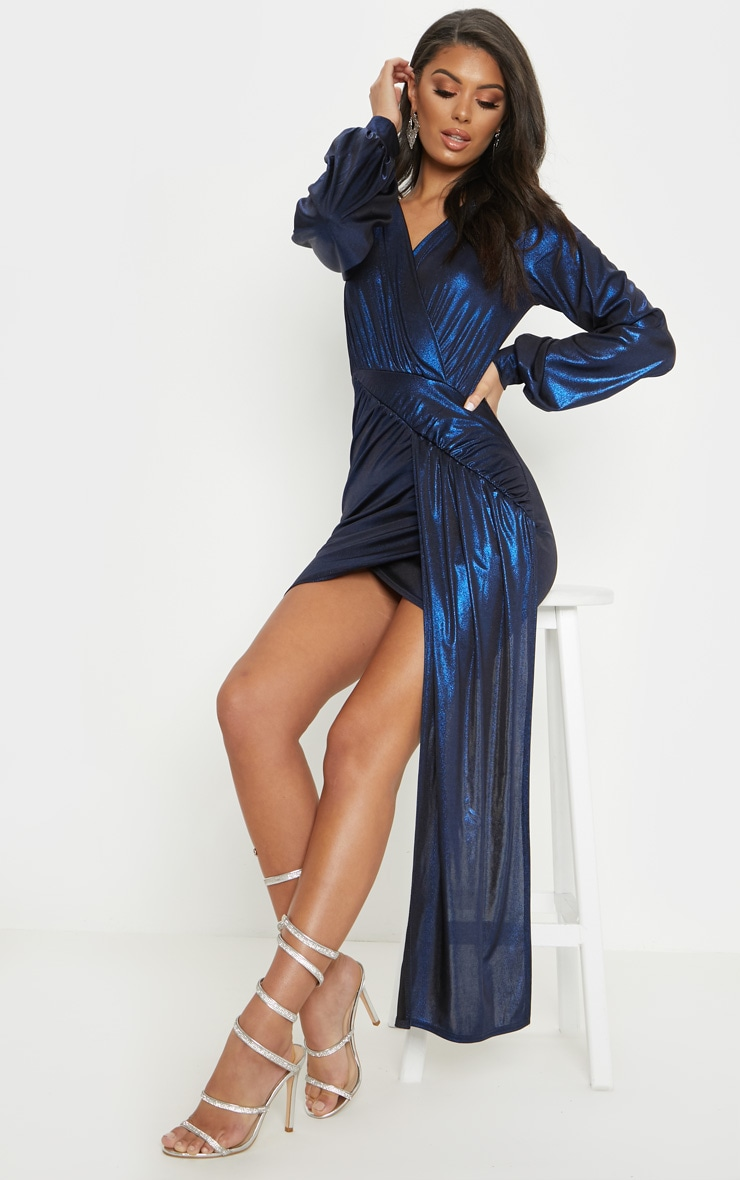 Blue Metallic Slinky Drape Detail Bodycon Dress 4