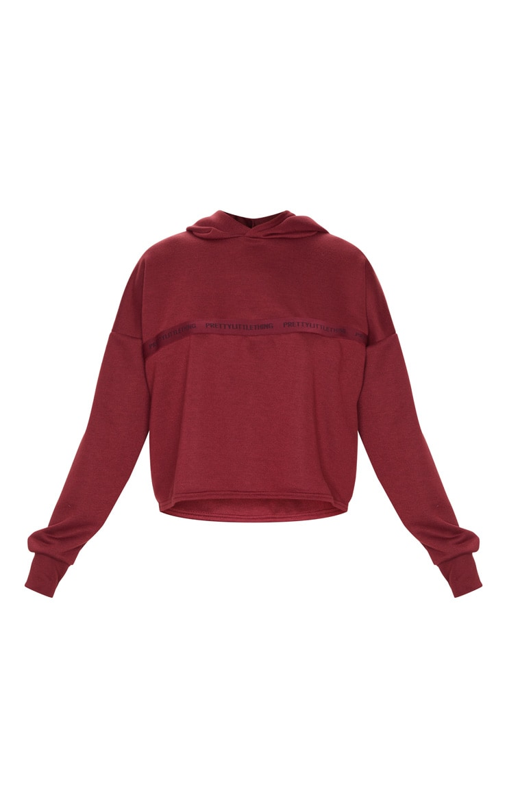 PRETTYLITTLETHING Berry Sport Cropped Hoodie 5