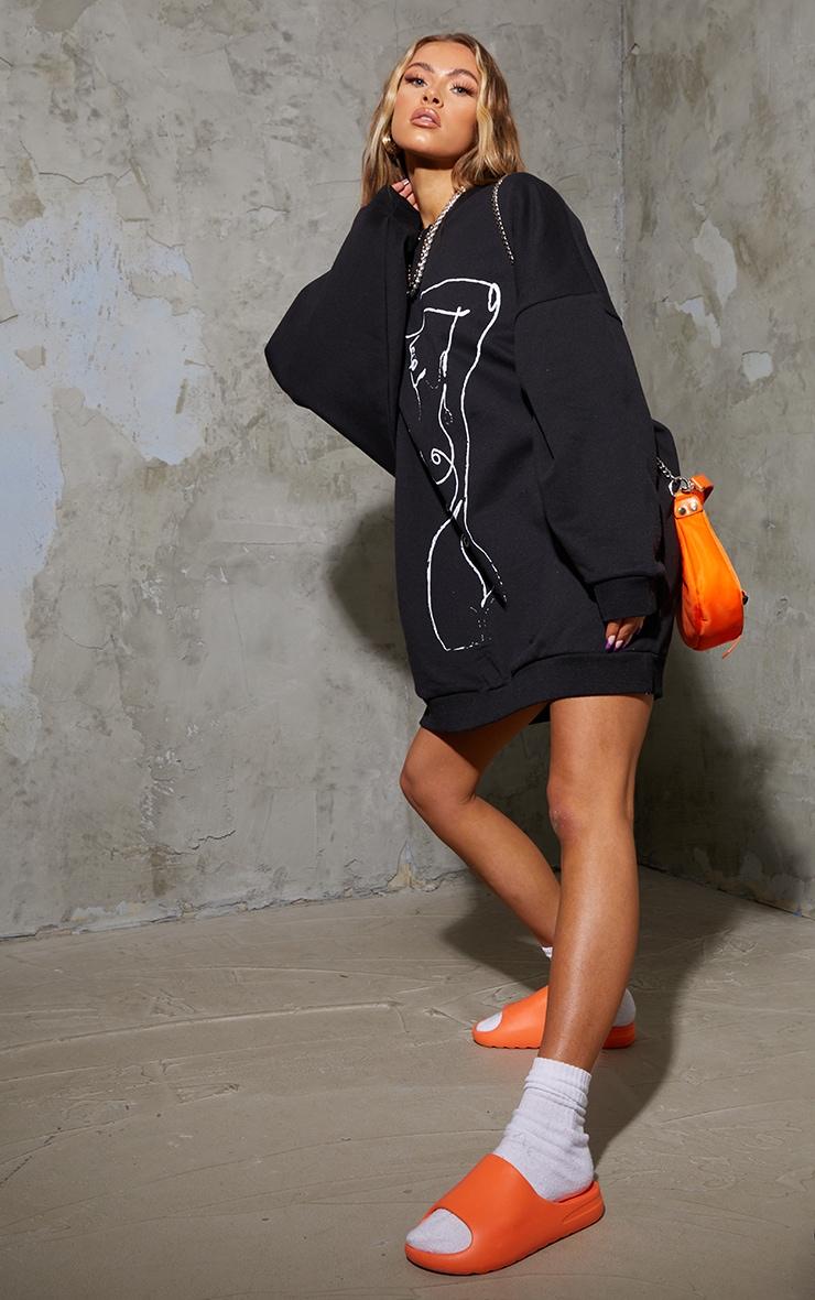 Black Illustration Silhouette Oversized Sweat Jumper Dress 3