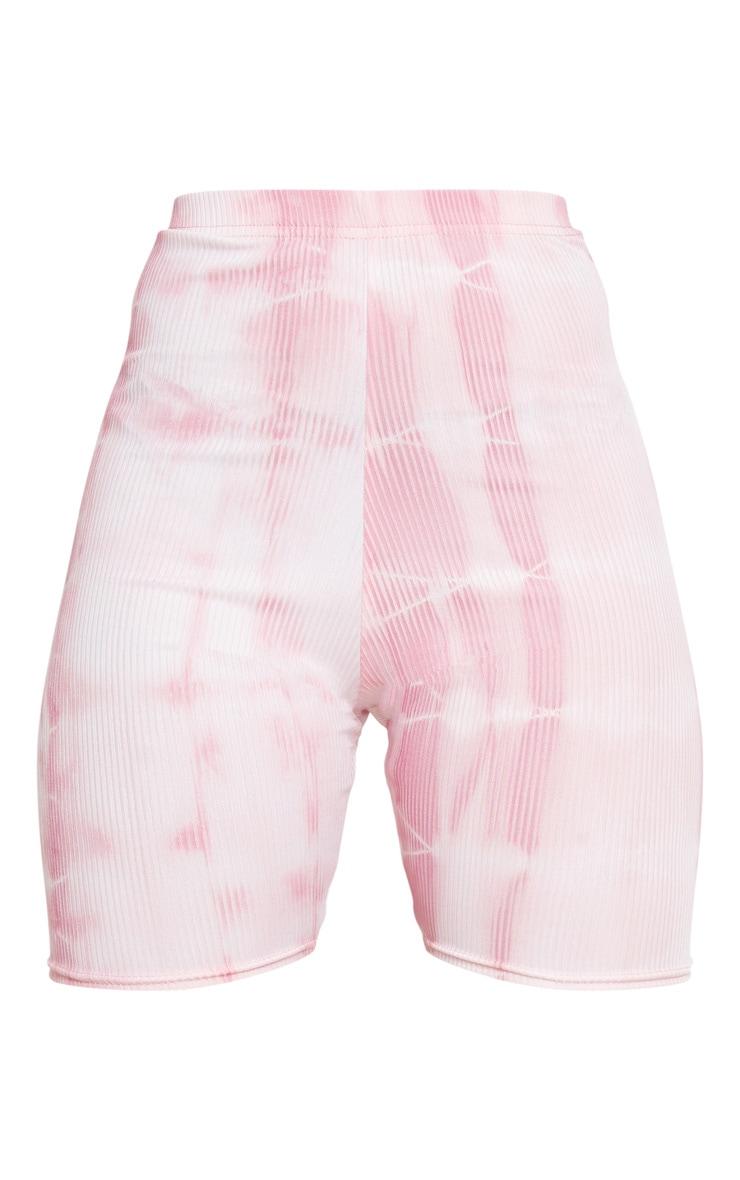 Pink Tie Dye Rib Cycle Shorts 6