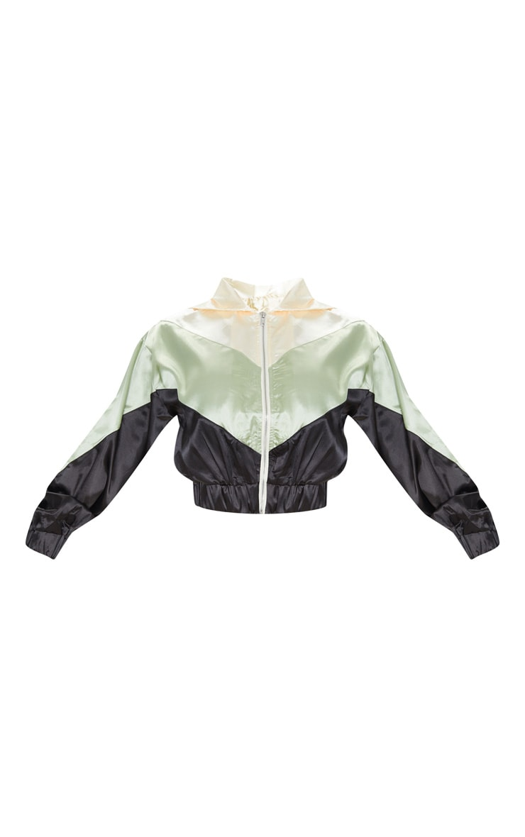 Khaki Satin Contrast Zip Up Hooded Bomber 3