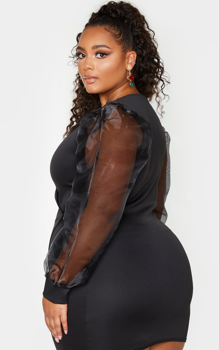 Plus Black Organza Sleeve Wrap Dress 2